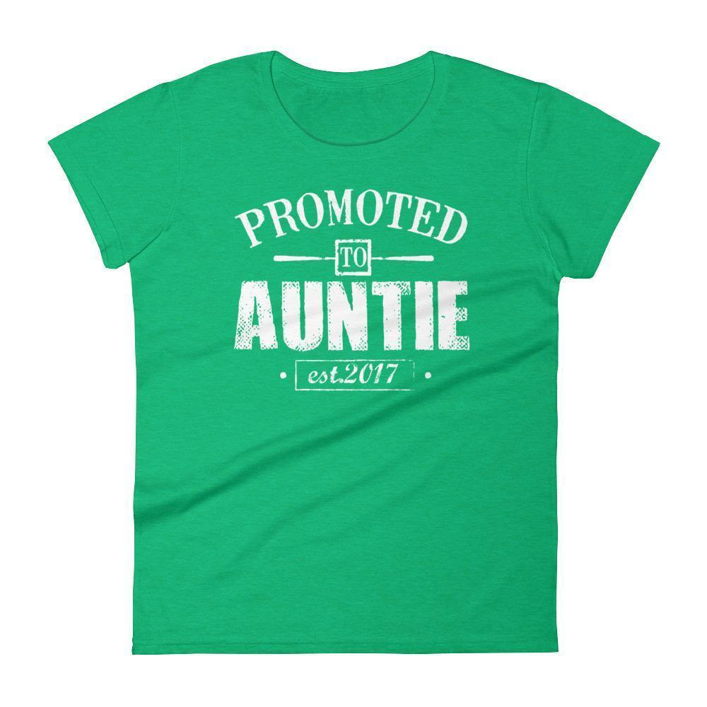 Women's Promoted to Auntie Est 2017 tshirt gift for new aunt to be-T-Shirt-BelDisegno-Heather Green-S-BelDisegno