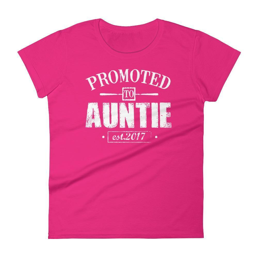 Women's Promoted to Auntie Est 2017 tshirt gift for new aunt to be-T-Shirt-BelDisegno-Hot Pink-S-BelDisegno
