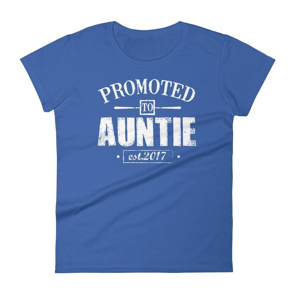 Women's Promoted to Auntie Est 2017 tshirt gift for new aunt to be-T-Shirt-BelDisegno-Royal Blue-S-BelDisegno