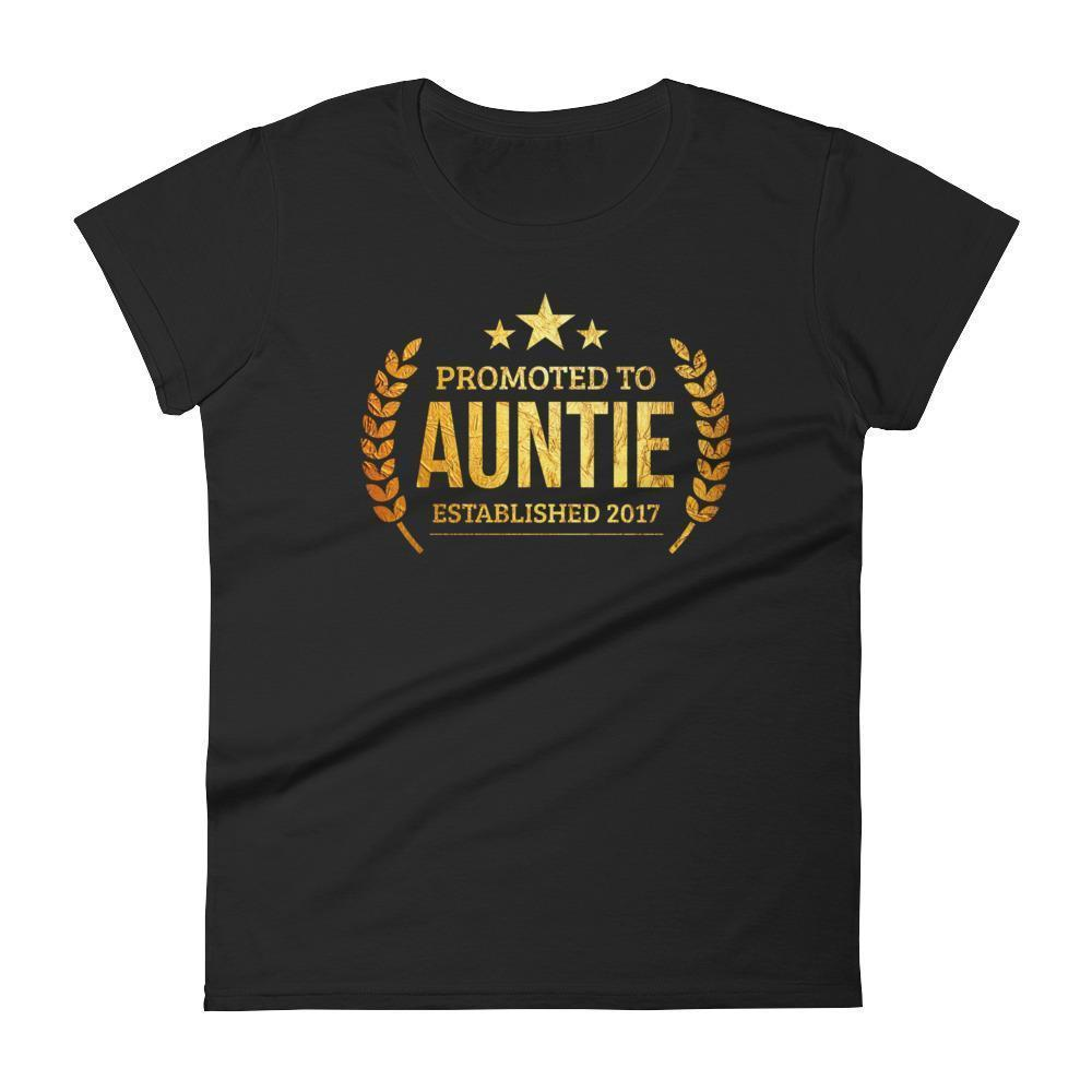Women's Promoted to Auntie Established 2017 tshirt new first time aunt to be gift-T-Shirt-BelDisegno-Black-S-BelDisegno