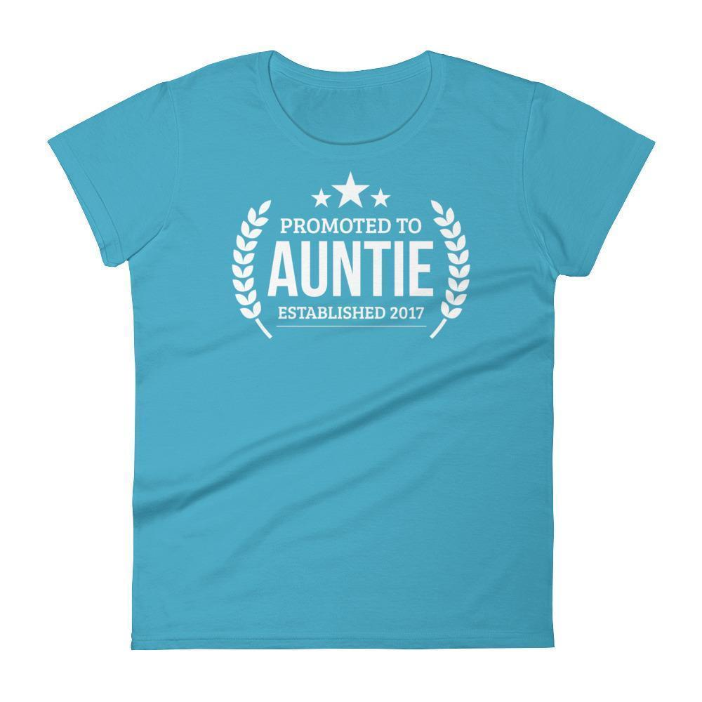 Women's Promoted to Auntie Established 2017 tshirt New first time Aunt to be gift-T-Shirt-BelDisegno-Caribbean Blue-S-BelDisegno