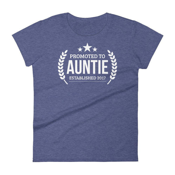 Women's Promoted to Auntie Established 2017 tshirt New first time Aunt to be gift-T-Shirt-BelDisegno-Heather Blue-S-BelDisegno