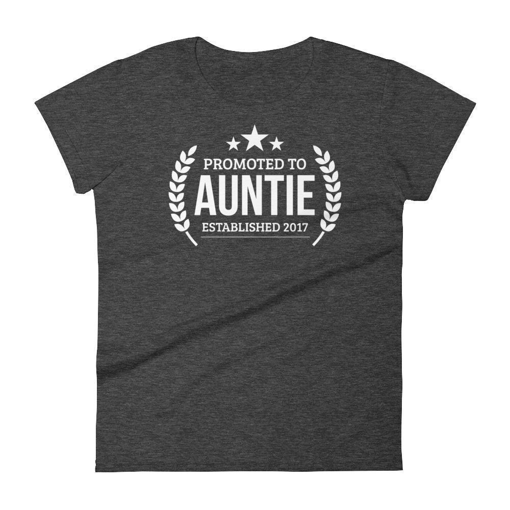 Women's Promoted to Auntie Established 2017 tshirt New first time Aunt to be gift-T-Shirt-BelDisegno-Heather Dark Grey-S-BelDisegno