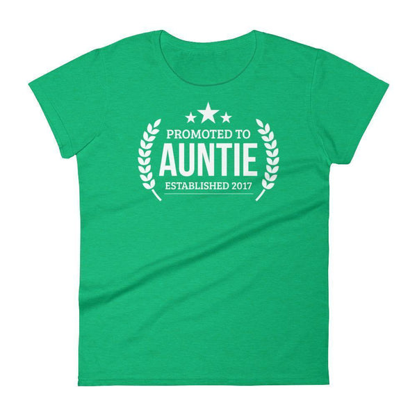 Women's Promoted to Auntie Established 2017 tshirt New first time Aunt to be gift-T-Shirt-BelDisegno-Heather Green-S-BelDisegno
