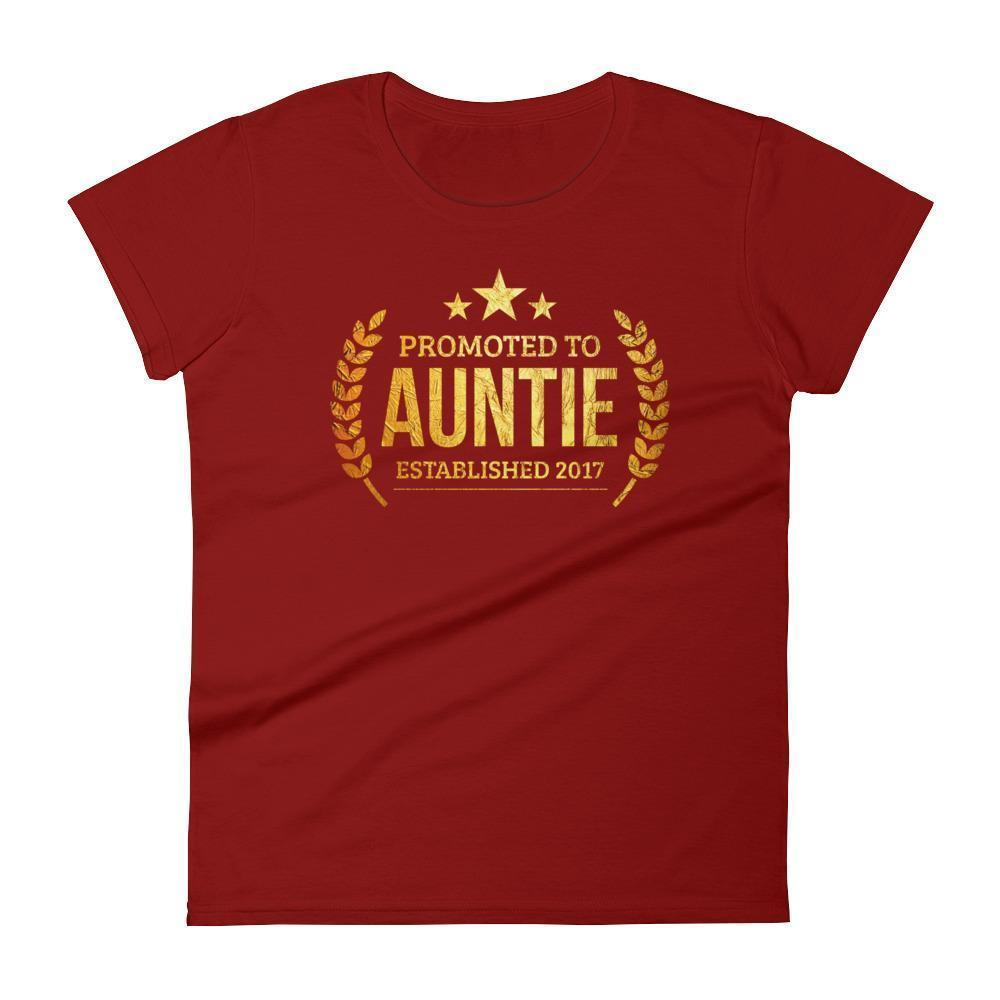 Women's Promoted to Auntie Established 2017 tshirt new first time aunt to be gift-T-Shirt-BelDisegno-Independence Red-S-BelDisegno
