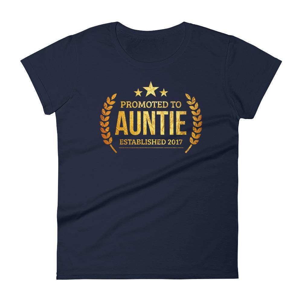 Women's Promoted to Auntie Established 2017 tshirt new first time aunt to be gift-T-Shirt-BelDisegno-Navy-S-BelDisegno