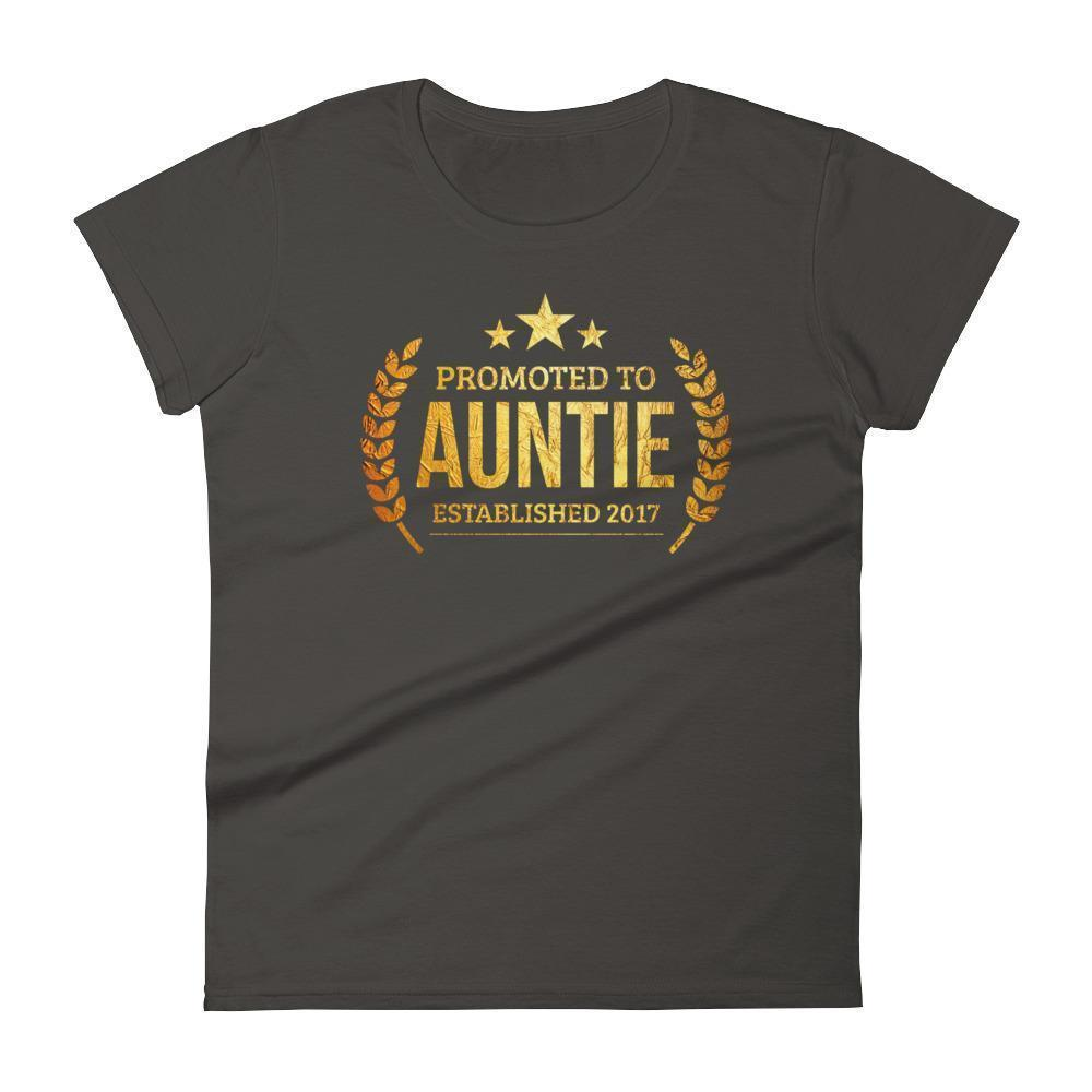 Women's Promoted to Auntie Established 2017 tshirt new first time aunt to be gift-T-Shirt-BelDisegno-Smoke-S-BelDisegno