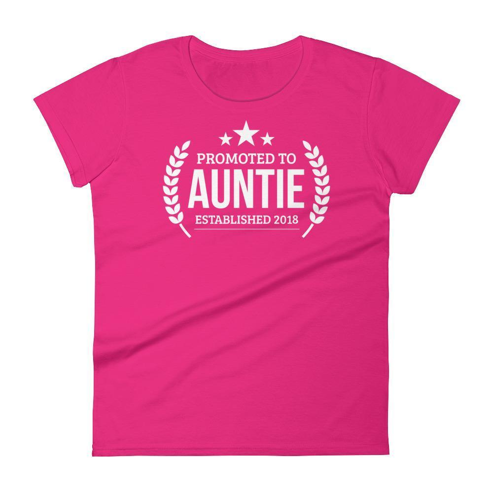 Women's Promoted to Auntie Established 2018 tshirt New first time Aunt to be gift-T-Shirt-BelDisegno-Hot Pink-S-BelDisegno