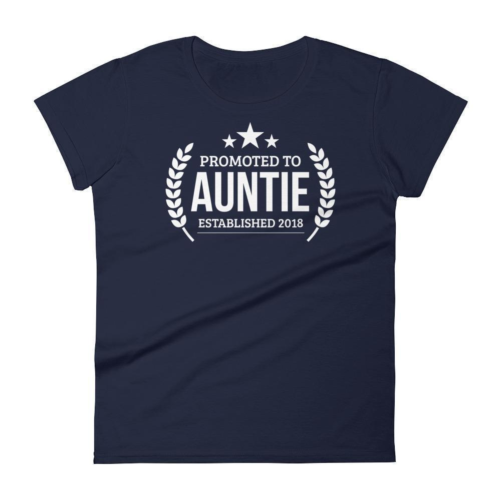Women's Promoted to Auntie Established 2018 tshirt New first time Aunt to be gift-T-Shirt-BelDisegno-Navy-S-BelDisegno