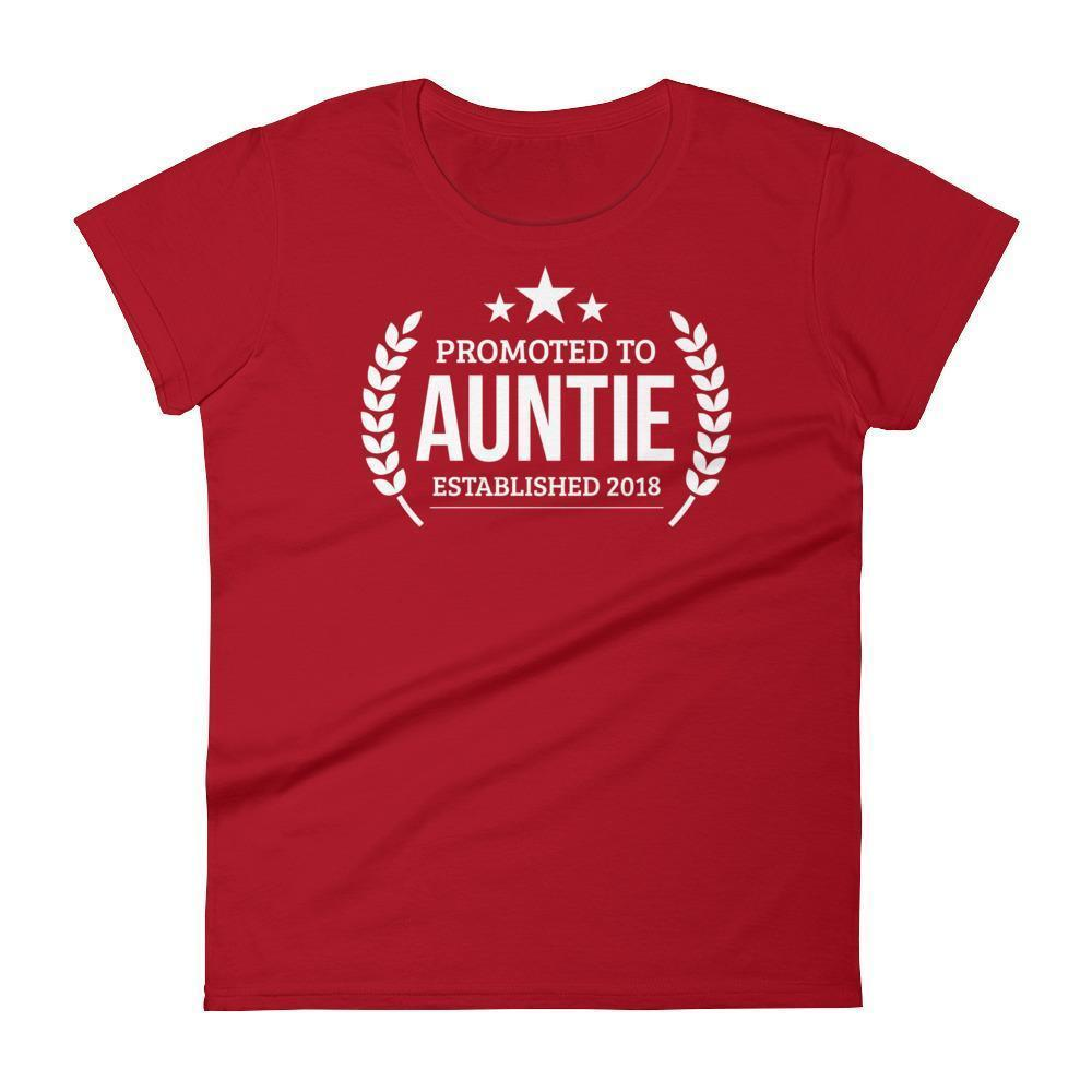 Women's Promoted to Auntie Established 2018 tshirt New first time Aunt to be gift-T-Shirt-BelDisegno-Red-S-BelDisegno