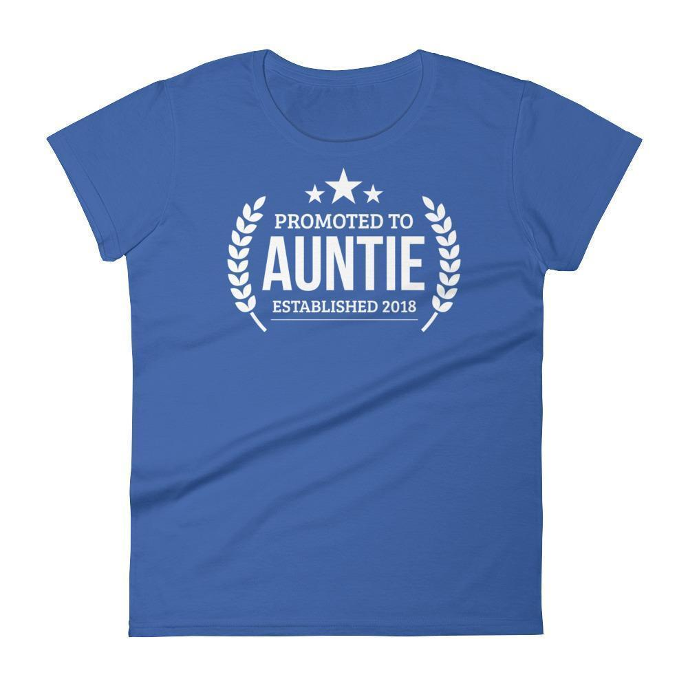 Women's Promoted to Auntie Established 2018 tshirt New first time Aunt to be gift-T-Shirt-BelDisegno-Royal Blue-S-BelDisegno