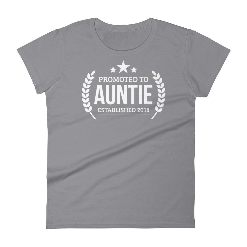 Women's Promoted to Auntie Established 2018 tshirt New first time Aunt to be gift-T-Shirt-BelDisegno-Storm Grey-S-BelDisegno