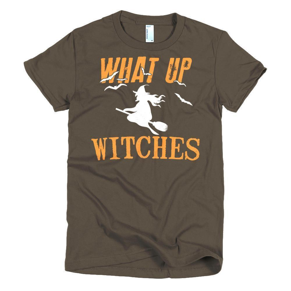 Women's What Up My Witches Funny TShirt-T-Shirt-BelDisegno-Brown-S-Women-BelDisegno