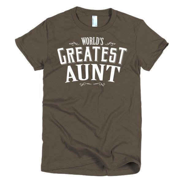 Women's World's Greatest Aunt new auntie gift TShirt-T-Shirt-BelDisegno-Brown-S-Women-BelDisegno