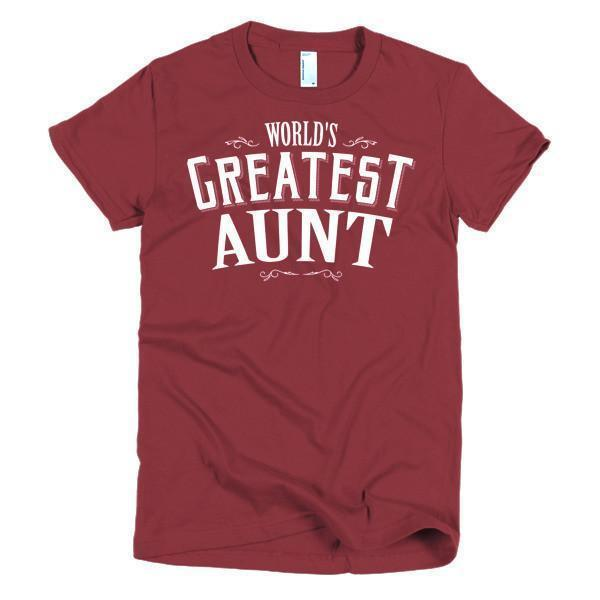Women's World's Greatest Aunt new auntie gift TShirt-T-Shirt-BelDisegno-Cranberry-S-Women-BelDisegno