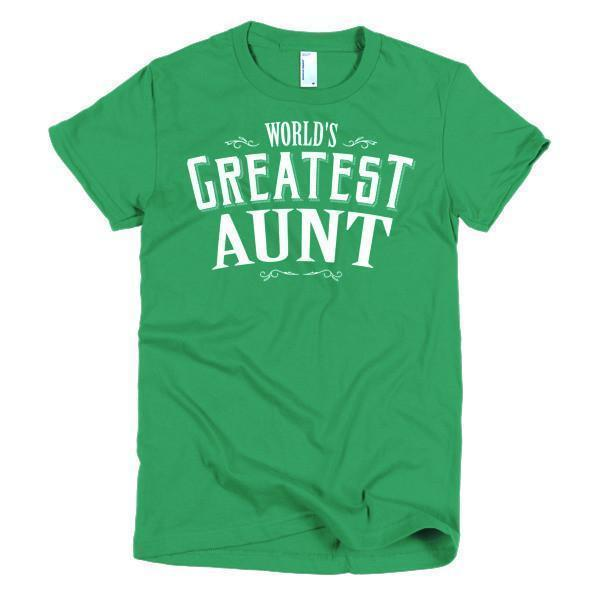 Women's World's Greatest Aunt new auntie gift TShirt-T-Shirt-BelDisegno-Kelly Green-S-Women-BelDisegno