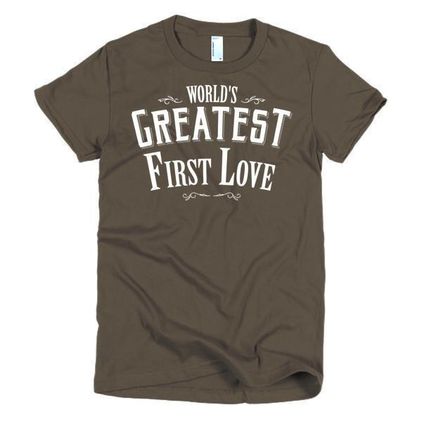 Women's World's Greatest First Love valentine day gift Idea TShirt-T-Shirt-BelDisegno-Brown-S-Women-BelDisegno