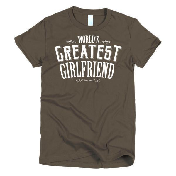 Women's World's Greatest Girlfriend Valentine day gift TShirt-T-Shirt-BelDisegno-Brown-S-Women-BelDisegno