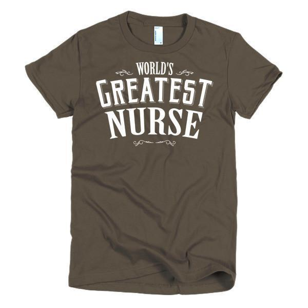 Women's World's Greatest Nurse TShirt-T-Shirt-BelDisegno-Brown-S-Women-BelDisegno