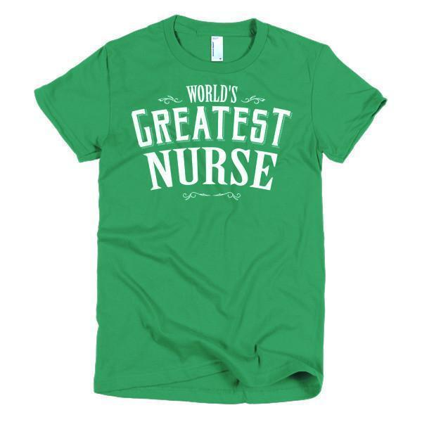 Women's World's Greatest Nurse TShirt-T-Shirt-BelDisegno-Kelly Green-S-Women-BelDisegno
