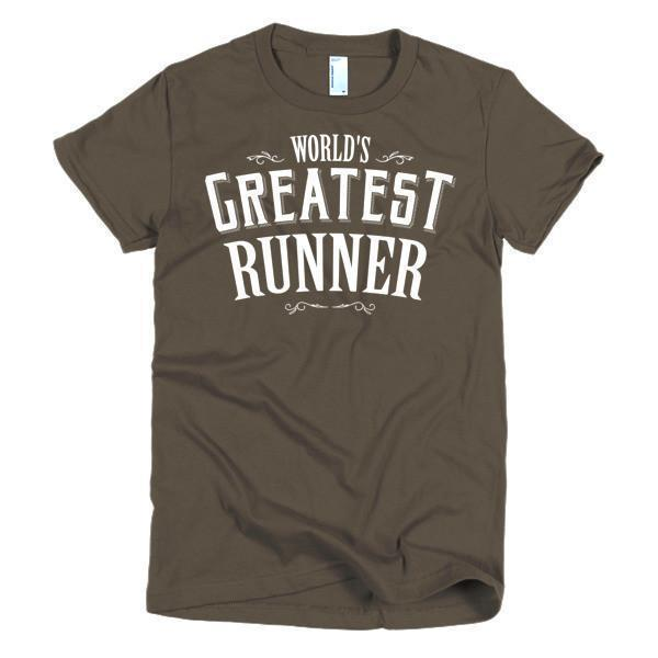 Women's World's Greatest Runner TShirt-T-Shirt-BelDisegno-Brown-S-Women-BelDisegno