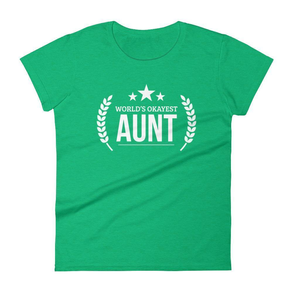 Women's World's Okayest Aunt Auntie birthday Gifts-T-Shirt-BelDisegno-Heather Green-S-BelDisegno