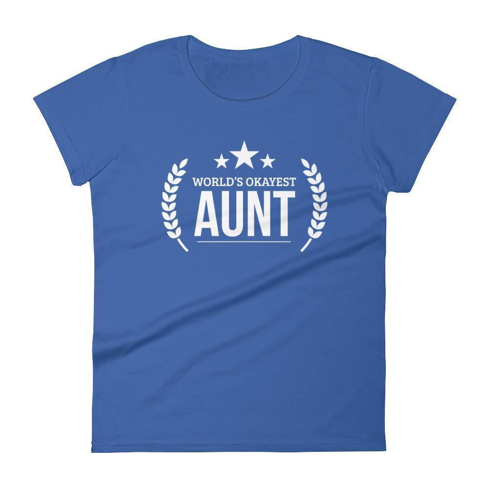 Women's World's Okayest Aunt Auntie birthday Gifts-T-Shirt-BelDisegno-Royal Blue-S-BelDisegno