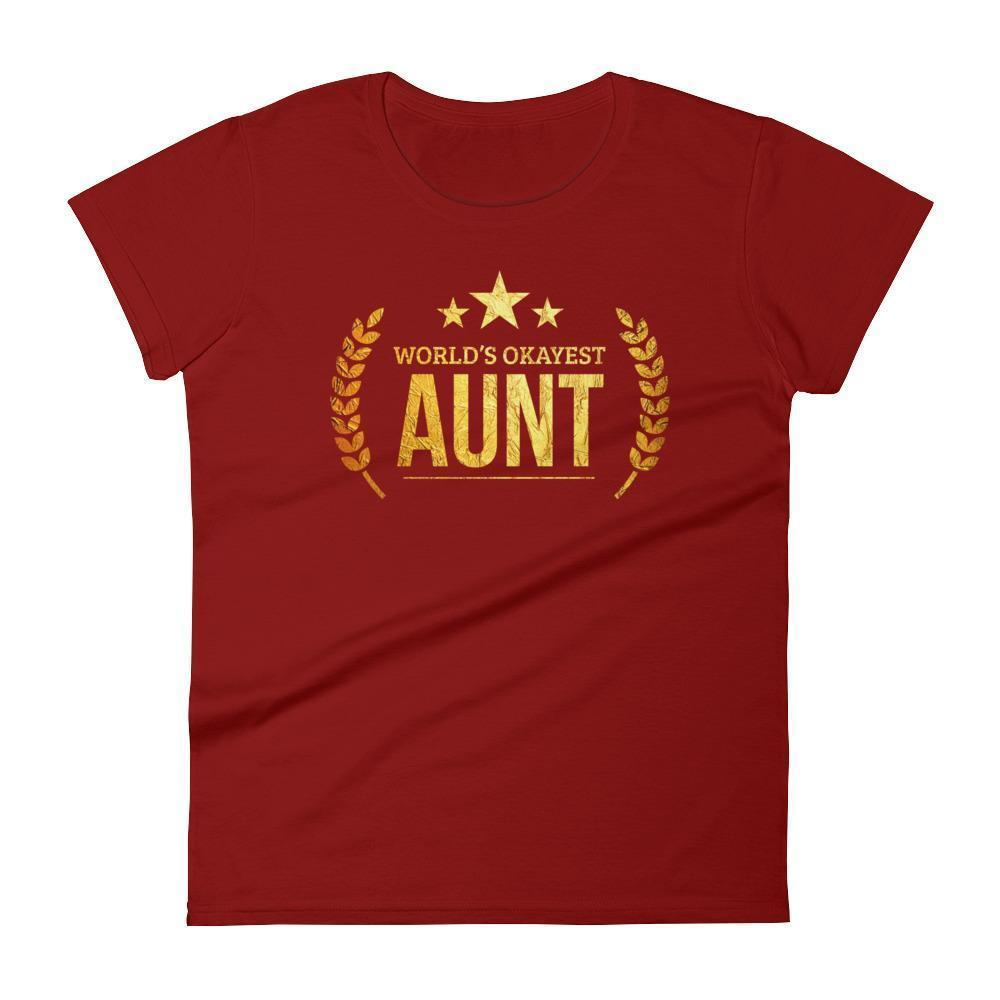 Women's World's Okayest Aunt Best Birthday gift for aunt Gift for new aunts-T-Shirt-BelDisegno-Independence Red-S-BelDisegno