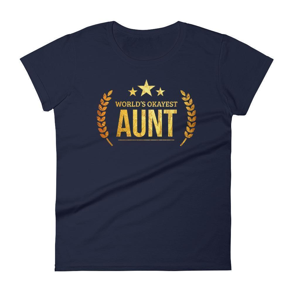 Women's World's Okayest Aunt Best Birthday gift for aunt Gift for new aunts-T-Shirt-BelDisegno-Navy-S-BelDisegno