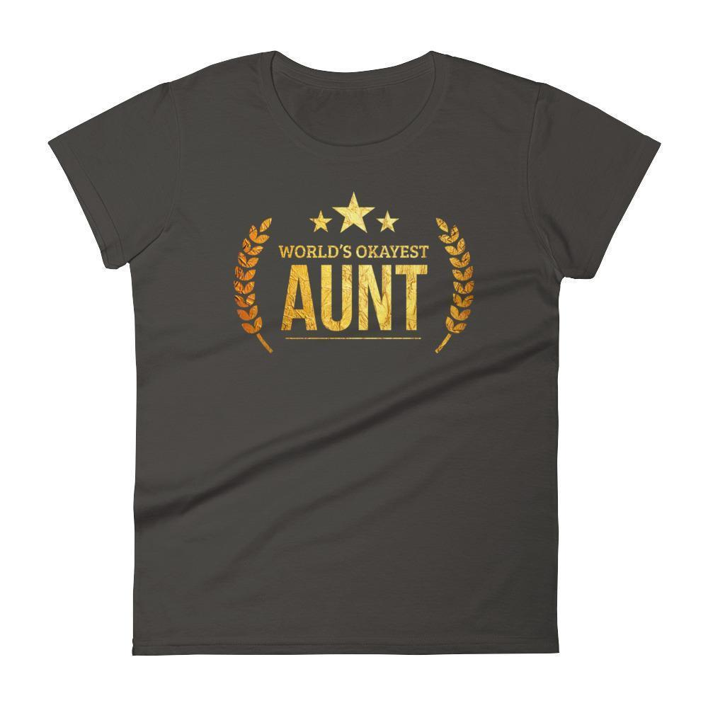 Women's World's Okayest Aunt Best Birthday gift for aunt Gift for new aunts-T-Shirt-BelDisegno-Smoke-S-BelDisegno