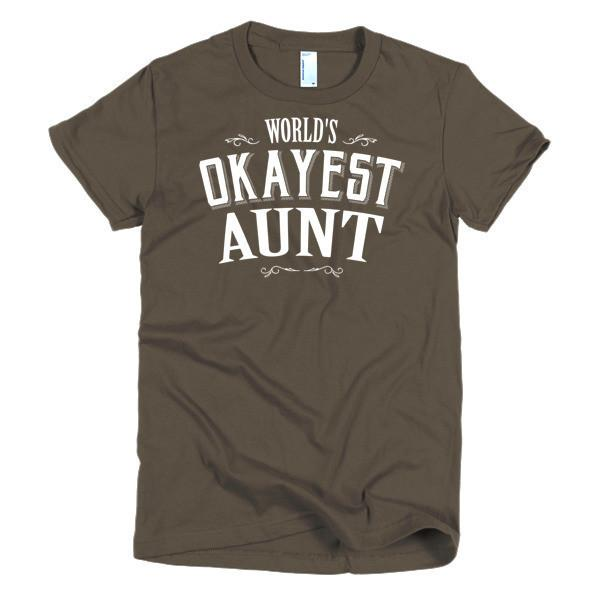 Women's World's Okayest Aunt gift TShirt-T-Shirt-BelDisegno-Brown-S-Women-BelDisegno