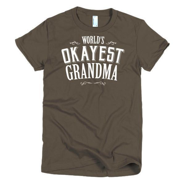 Women's World's Okayest Grandma Mother day gift Idea TShirt-T-Shirt-BelDisegno-Brown-S-Women-BelDisegno
