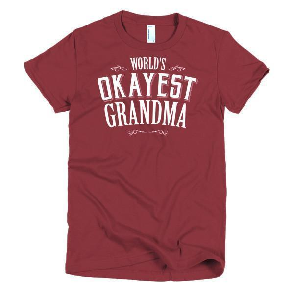 Women's World's Okayest Grandma Mother day gift Idea TShirt-T-Shirt-BelDisegno-Cranberry-S-Women-BelDisegno