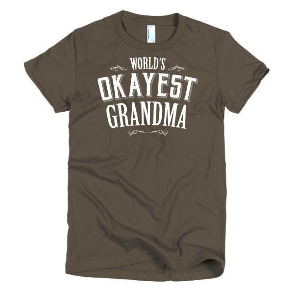 Women's World's Okayest Grandma mother's day gift TShirt-T-Shirt-BelDisegno-Brown-S-Women-BelDisegno