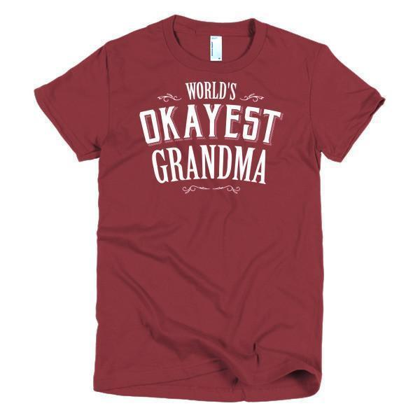 Women's World's Okayest Grandma mother's day gift TShirt-T-Shirt-BelDisegno-Cranberry-S-Women-BelDisegno