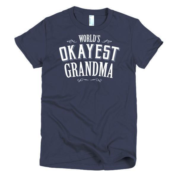 Women's World's Okayest Grandma mother's day gift TShirt-T-Shirt-BelDisegno-Navy-S-Women-BelDisegno
