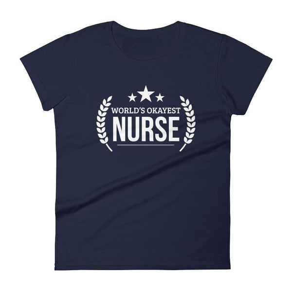 Women's World's Okayest Nurse tshirt graduation gifts for nurses-T-Shirt-BelDisegno-Navy-S-BelDisegno