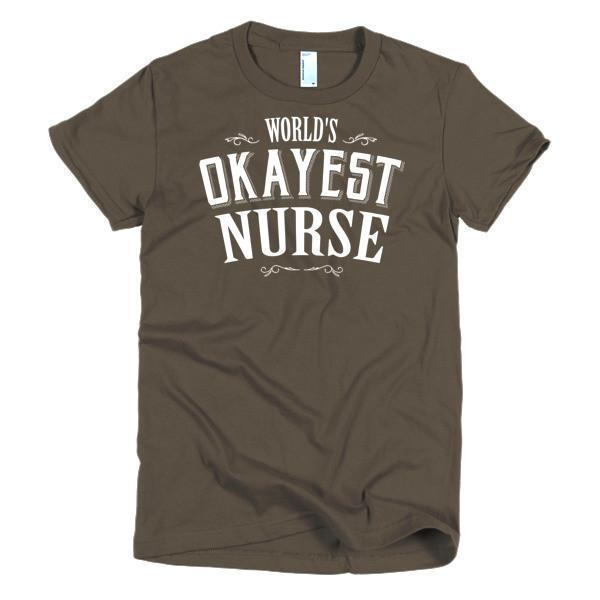 Women's World's Okayest Nurse TShirt-T-Shirt-BelDisegno-Brown-S-Women-BelDisegno