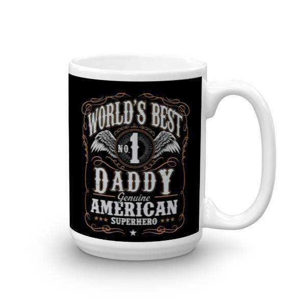 World's Best No 1 Daddy American Superhero Coffee Mug-Mug-BelDisegno-15oz-BelDisegno