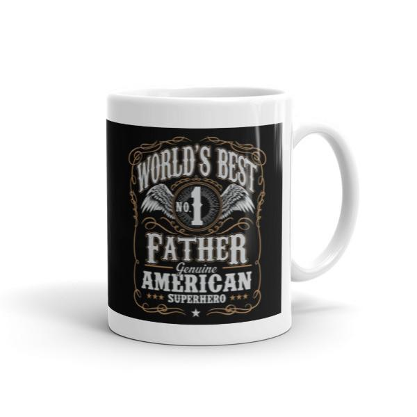 World's Best No 1 Father American Superhero Coffee Mug-Mug-BelDisegno-11oz-BelDisegno