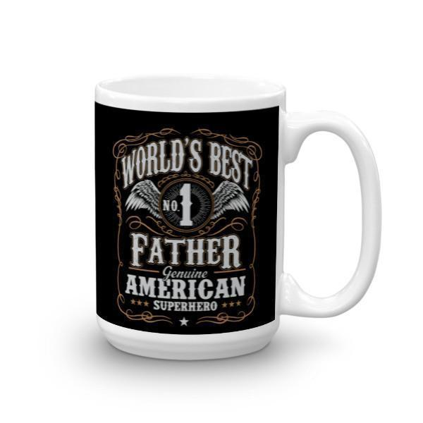 World's Best No 1 Father American Superhero Coffee Mug-Mug-BelDisegno-15oz-BelDisegno