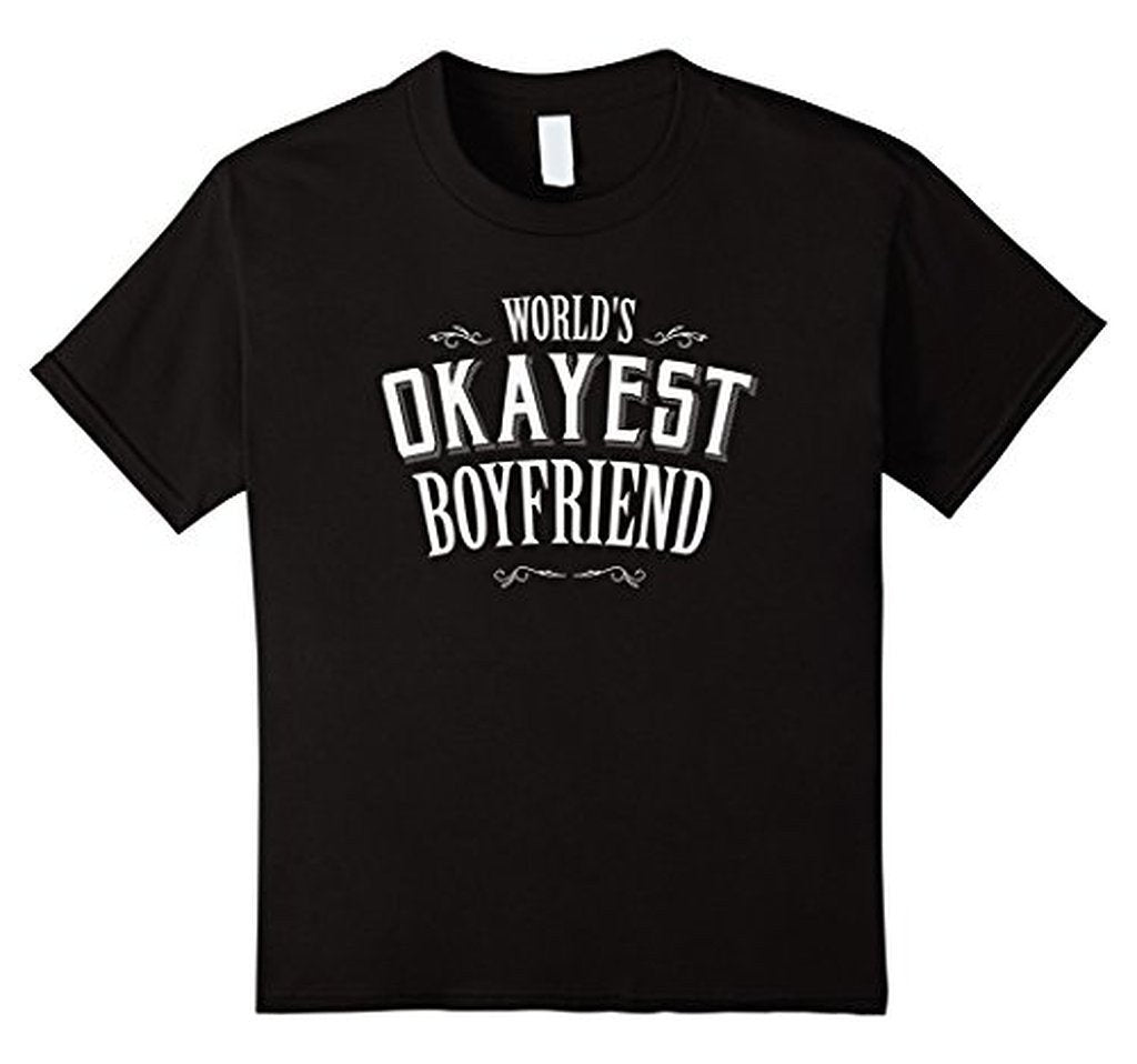 World's Okayest Boyfriend romantic t for him T TShirt-T-Shirt-BelDisegno-Black-S-BelDisegno