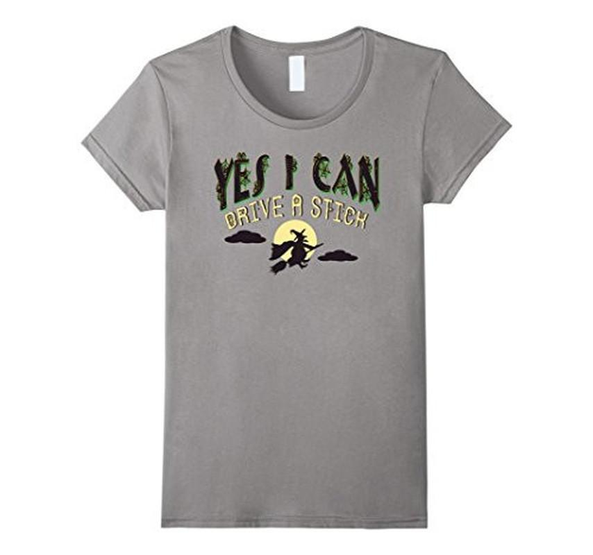 Yes I can Drive a Stick Halloween TShirt-T-Shirt-BelDisegno-Heather Grey-S-BelDisegno