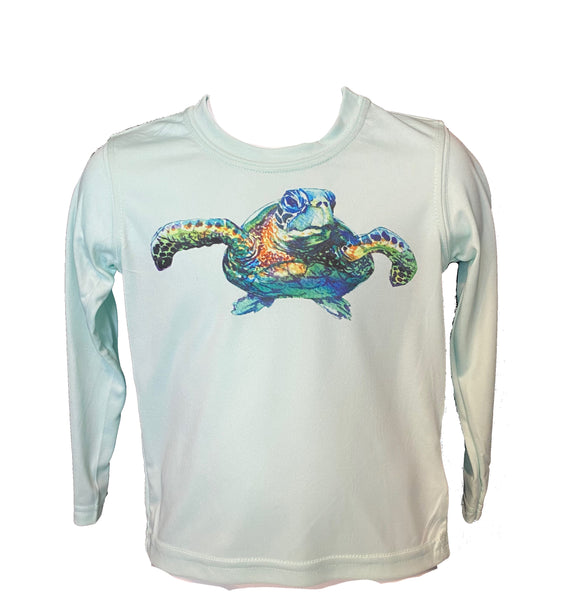 Sporty Girl Toddler Sea Turtle UPF LS
