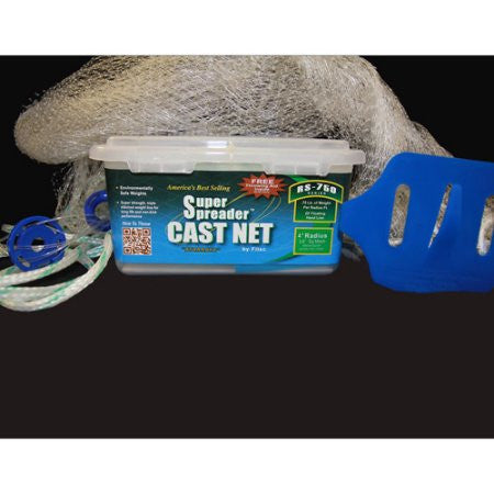 "Fitec 5' with 3/8"" Mesh Super Spreader Cast Net RS750 Series - #10150"