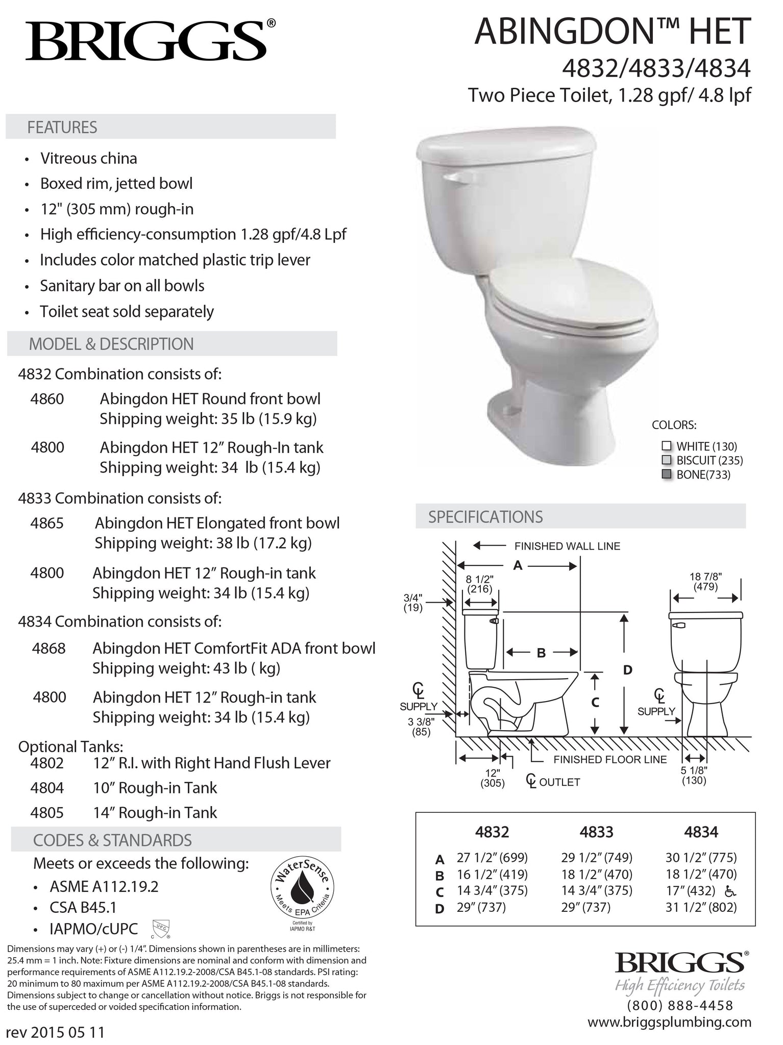 Abingdon Toilet HET 1.28 gpf Submittal Sheet