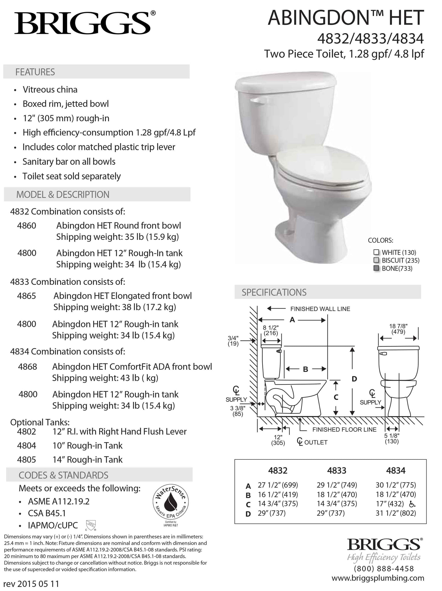 Abingdon Toilet HET (EL) 1.28 gpf submittal sheet