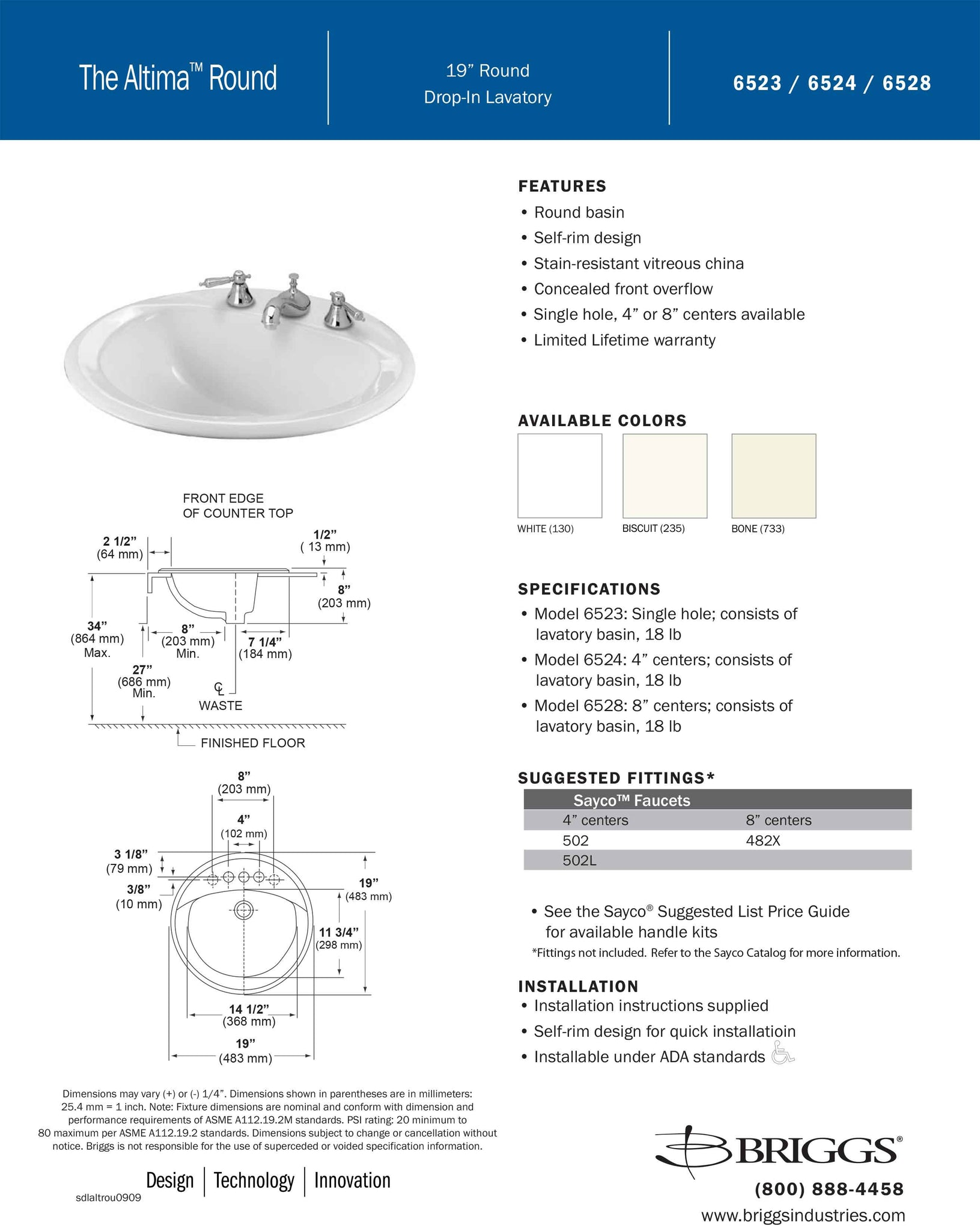Submittal Sheet Briggs Altima Drop-in Sink