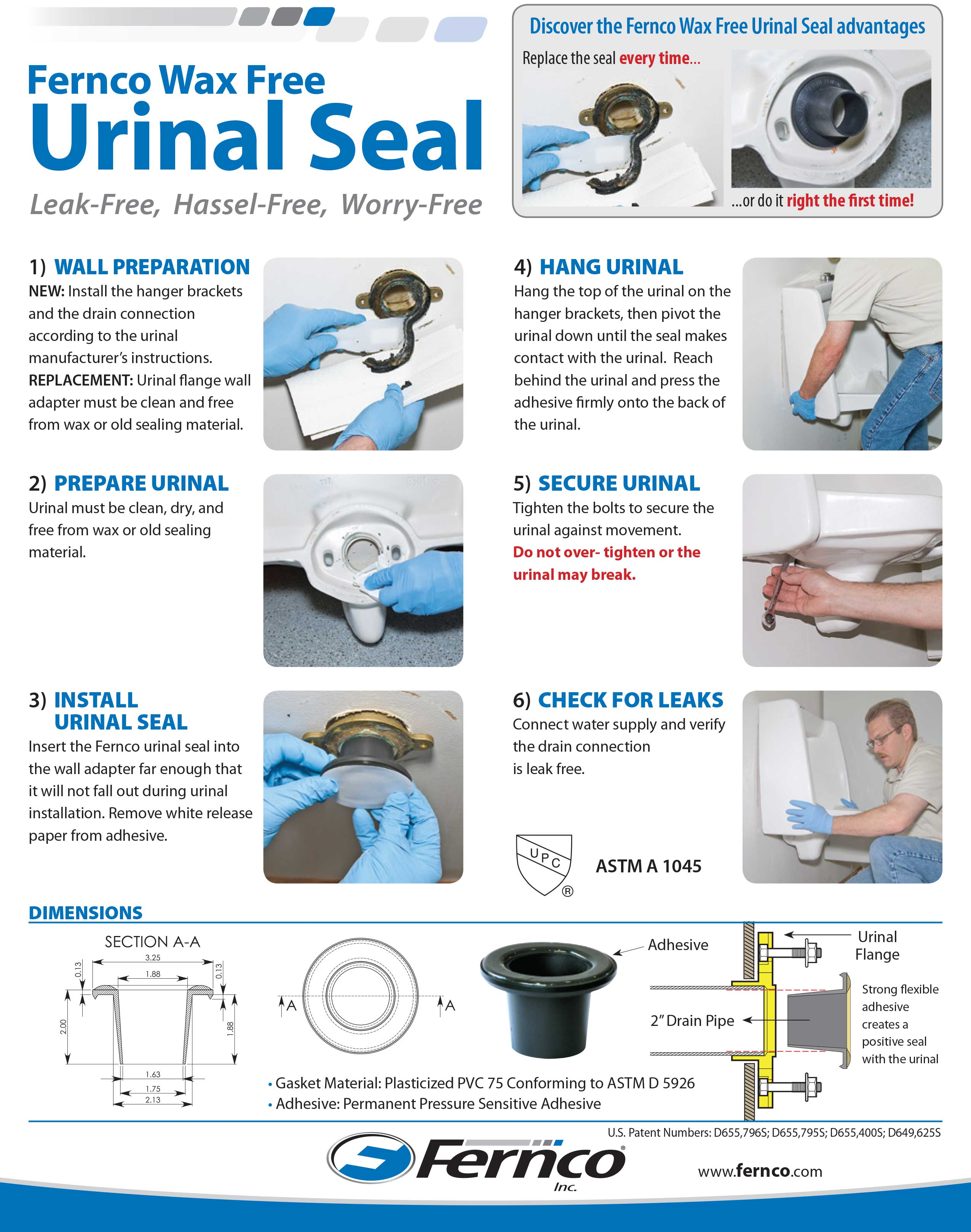 Comerica Wiring Instructions : Fernco wax free urinal seal wood plumbing supply
