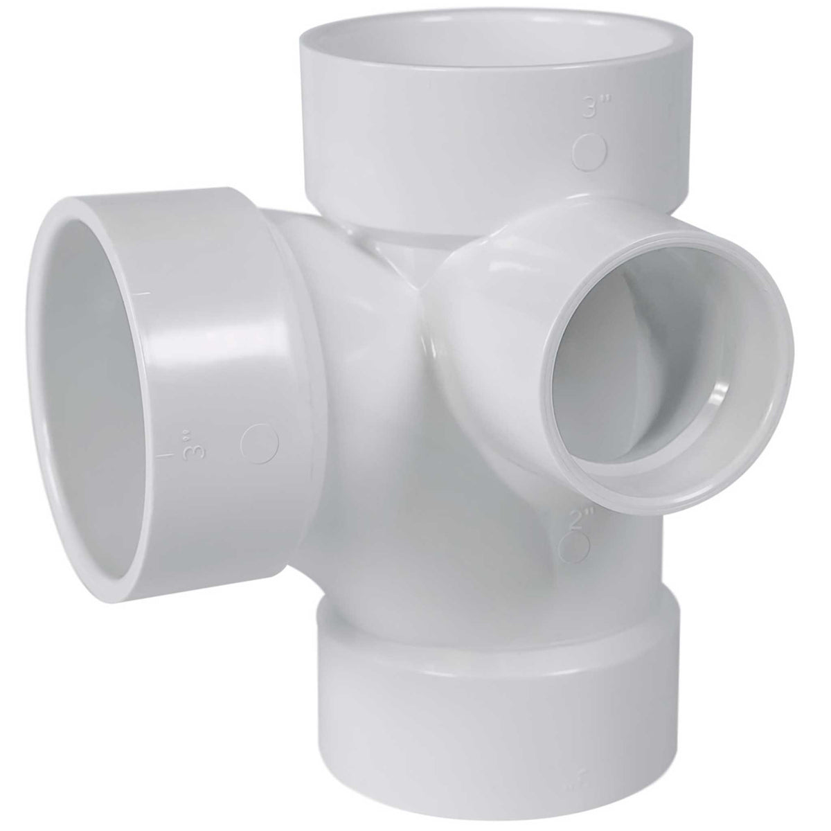 Schedule 40 PVC DWV Sanitary Tee w/ Left Side Inlet